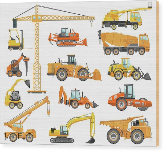 Set Of Detailed Heavy Construction And Wood Print by Alexyustus