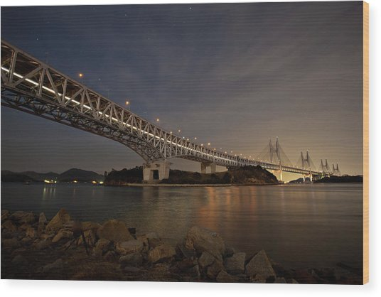 Seto Ohashi Bridge At Night Wood Print