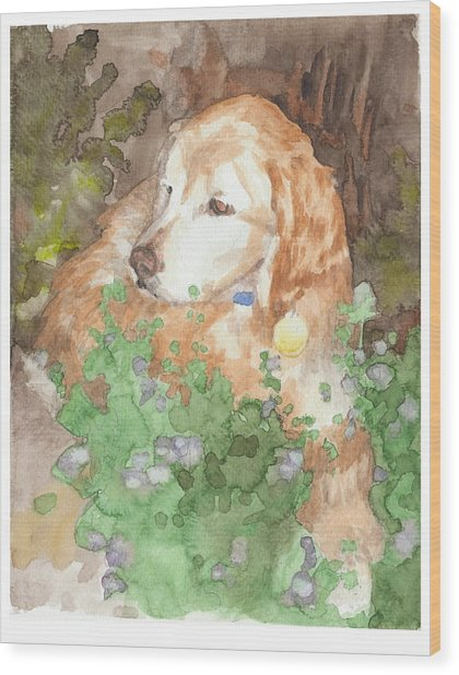 Setter Dog In Flowers Watercolor Portrait Wood Print by Mike Theuer