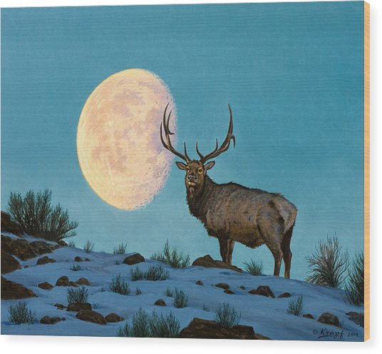 Setting Moon And Elk Wood Print