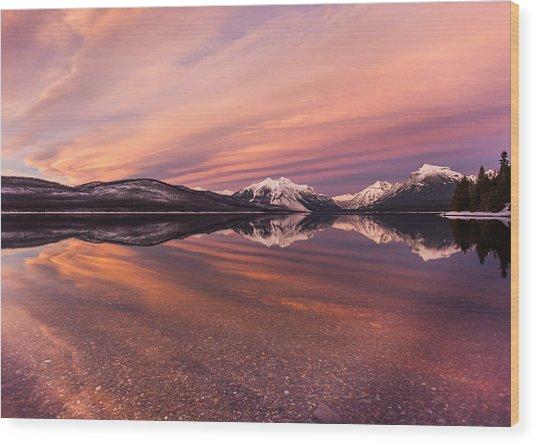 Setting On Glacier Wood Print