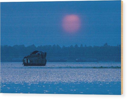Setting Sun And Boat Wood Print