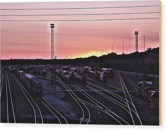 Setting Sun Shining Rails Wood Print by Elizabeth Sullivan