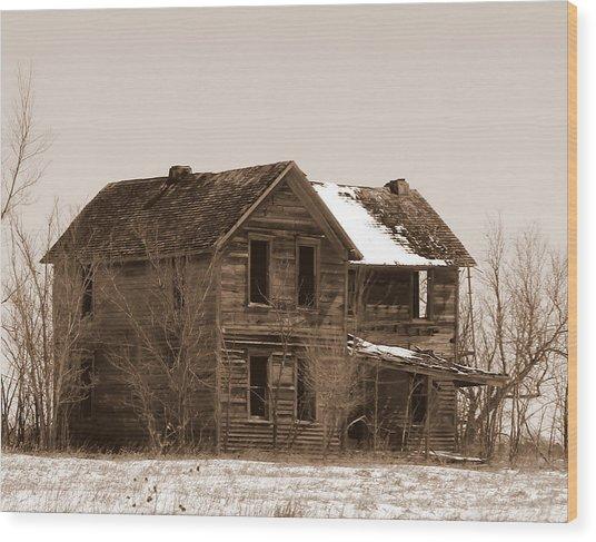 Settlers Dark Shadows House Sepia Wood Print