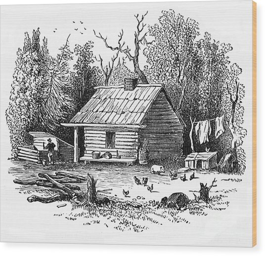 Settler's Log Cabin - 1878 Wood Print