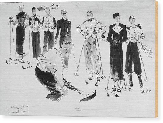 Seven Women Wearing Ski Outfits Wood Print by Rene Bouet-Willaumez