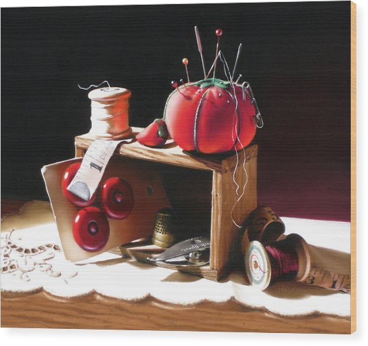 Sewing Box In Reds Wood Print by Dianna Ponting