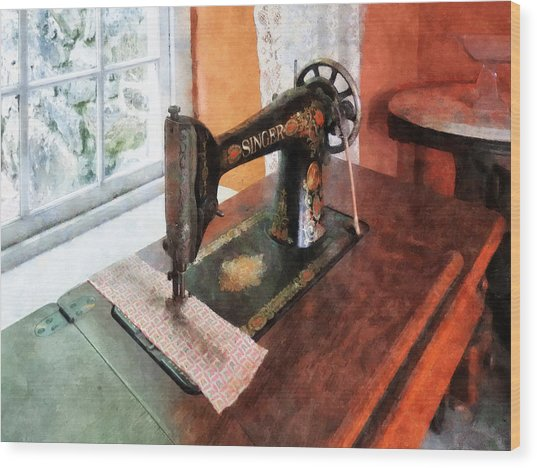Sewing Machine Near Lace Curtain Wood Print by Susan Savad