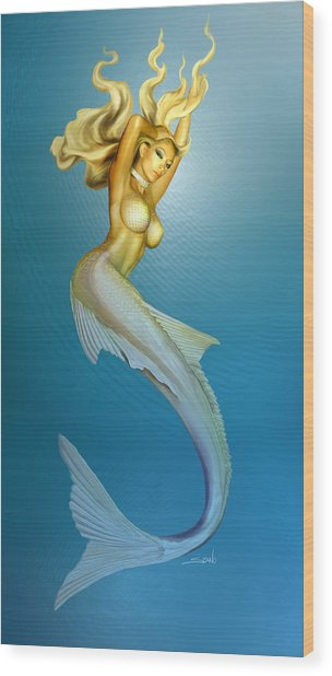 Sexy Mermaid By Spano Wood Print