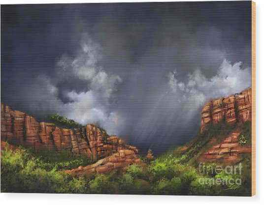 Thunderstorm In Sedona Wood Print