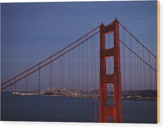 Sf Through The Bridge Wood Print