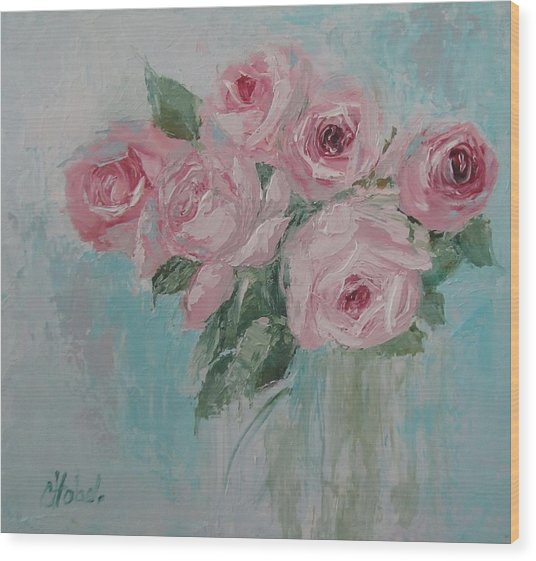 Shabby Chic Pink Roses Oil Palette Knife Painting Wood Print