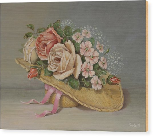 Shabby Chic Roses Wood Print