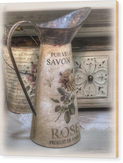 Shabby Chic Vase Wood Print