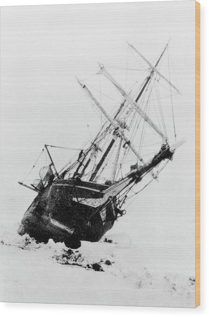 Shackleton's Ship Trapped In Antarctic Ice Wood Print