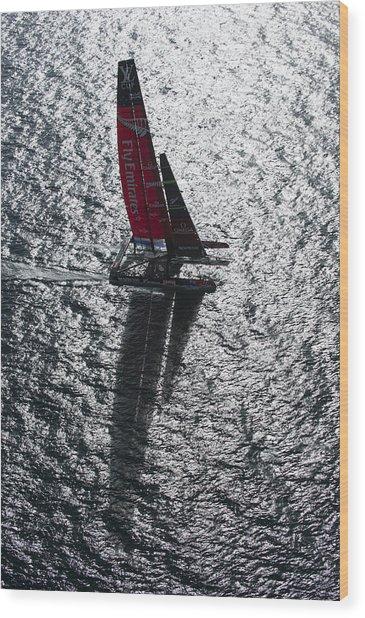 Shadow Sailing Wood Print by Chris Cameron