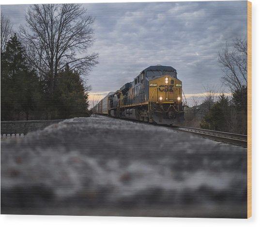 Shadow Train Wood Print