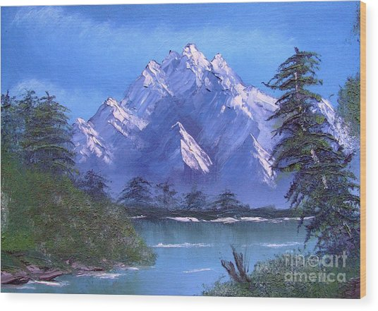 Shadowed Mountain Lake Wood Print