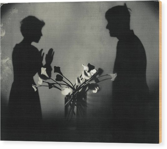Shadows By Flowers In A Page Of Actorplasms Wood Print