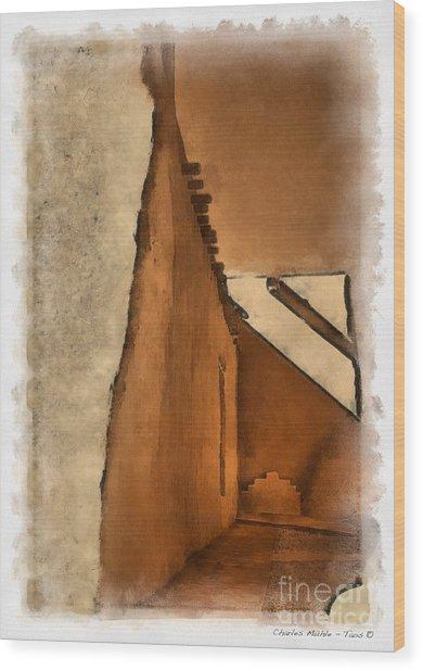 Shadows In Aquarell   Wood Print