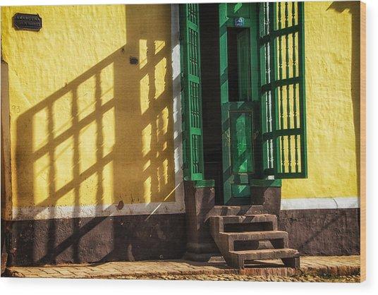 Shadows On The Wall Wood Print