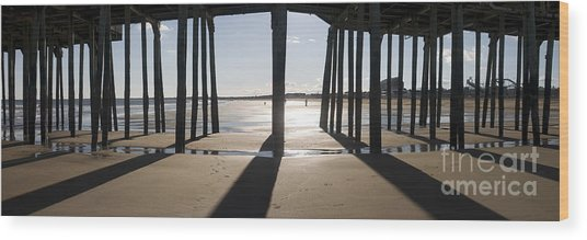 Shadows Under The Pier Wood Print