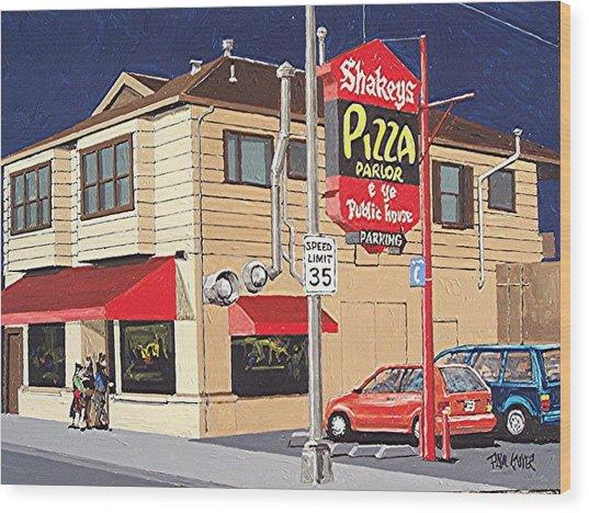 Shakey's Pizza Wood Print by Paul Guyer