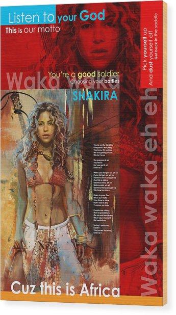 Shakira Art Poster Wood Print