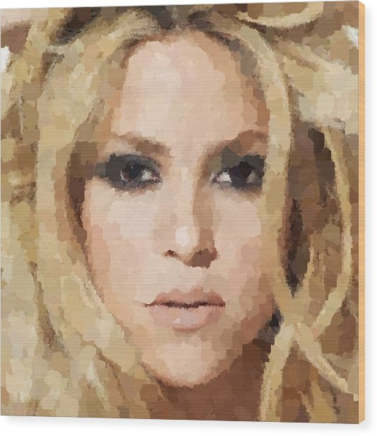 Shakira Portrait Wood Print