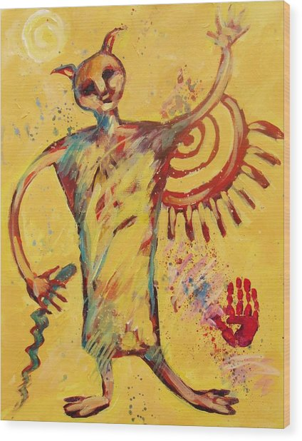 Shaman Greetings Wood Print