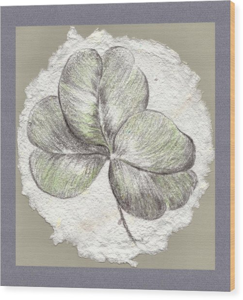 Shamrock On Handmade Paper Wood Print