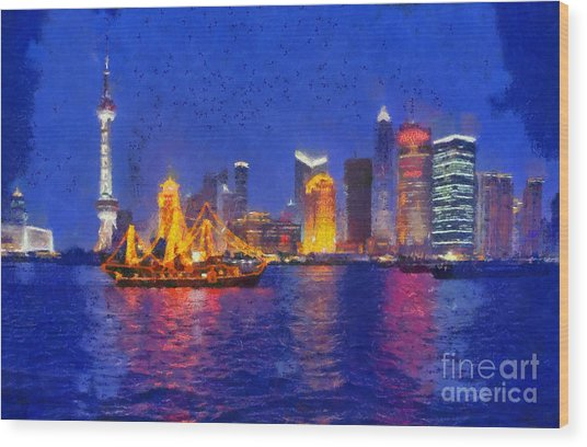 Shanghai During Dusk Time Wood Print