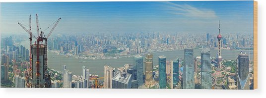 Shanghai Panorama Wood Print