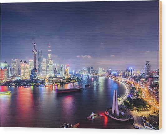 Shanghai Skyline At Night Wood Print