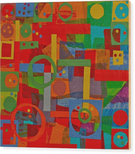 Shapes In Hues In Motion Wood Print by Patrick Beamish