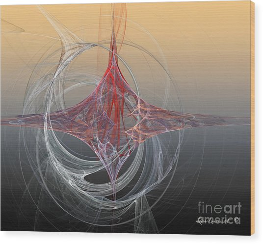 Shapes Infusing Wood Print by Leona Arsenault