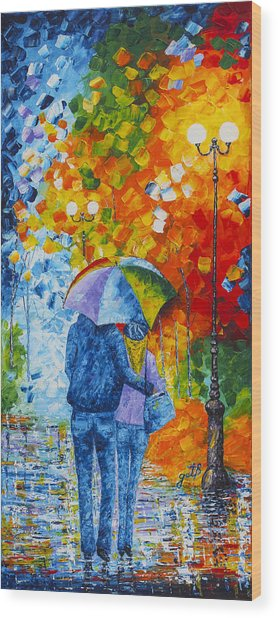 Wood Print featuring the painting Sharing Love On A Rainy Evening Original Palette Knife Painting by Georgeta Blanaru