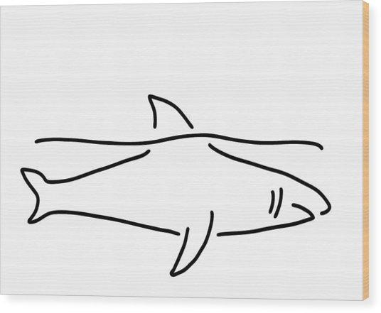 Shark Shark Fish Fin Sea Wood Print