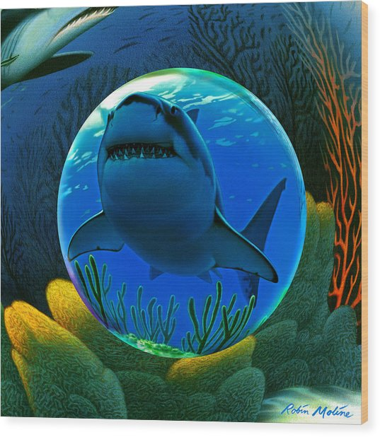 Shark World  Wood Print