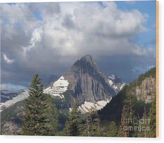 Sharp Peak Into Clouds Wood Print