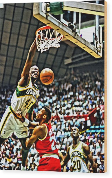 Shawn Kemp Painting Wood Print