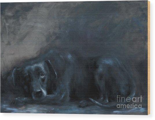 Sheba- Portrait Of A Homeless Man's Beloved Pet Wood Print by Stella Violano