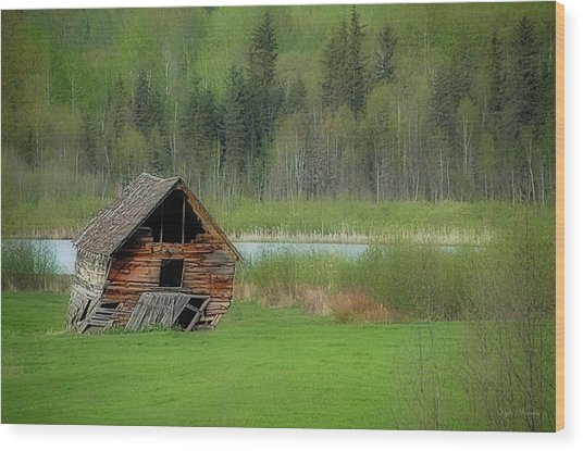 Shed By The Lake Wood Print