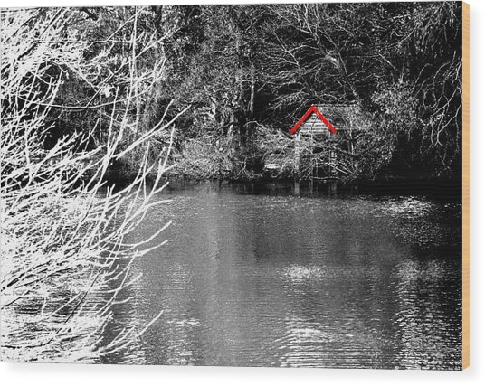 Shed On The Lake Wood Print