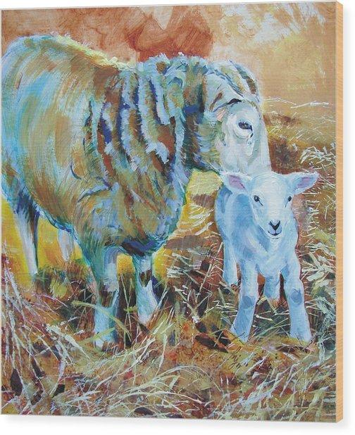 Sheep And Lamb Wood Print