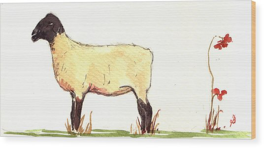 Sheep Black White Wood Print