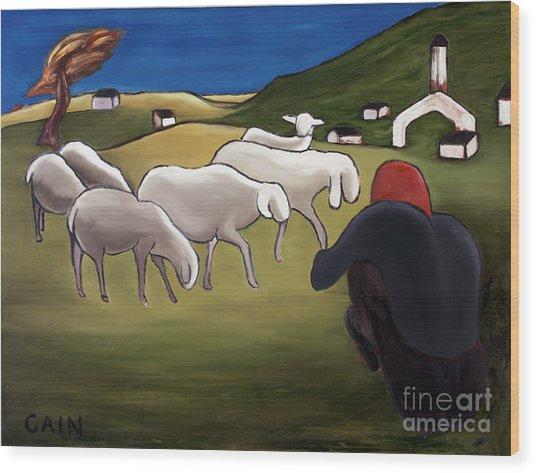 Sheep Herder  Wood Print