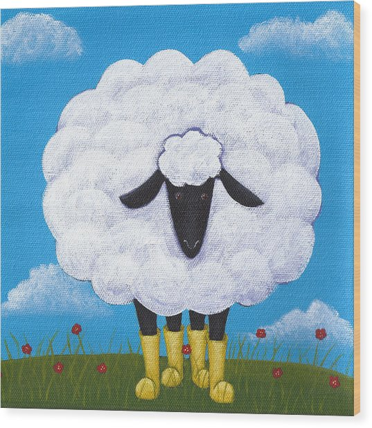 Sheep Nursery Art Wood Print