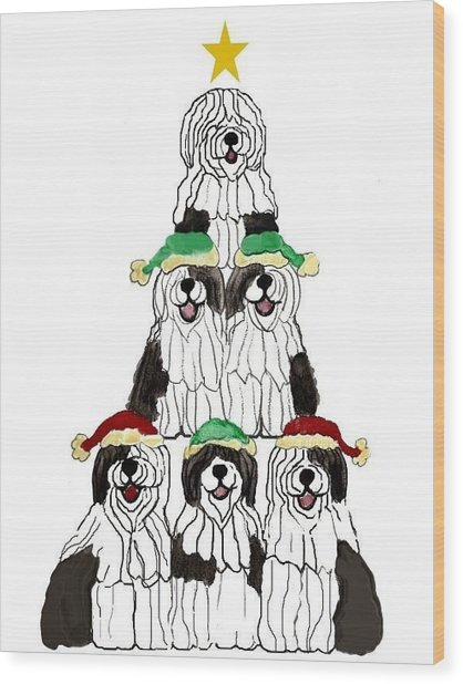 Sheepdog Christmas Tree Wood Print
