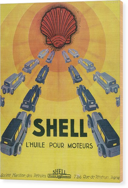 Shell Oil For Cars         Date 1929 Wood Print by Mary Evans Picture Library
